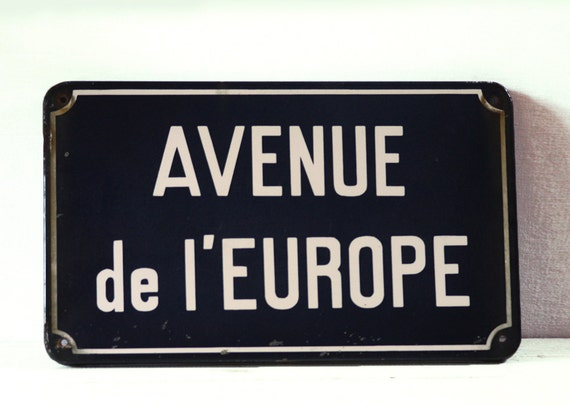 "Original Vintage Blue enameled metal FRENCH Street SIGN ""Avenue de l"" EUROPE"""