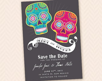 Printable Save The Date - Mexican Sugar Skull, or Dias De Los Muertos Theme