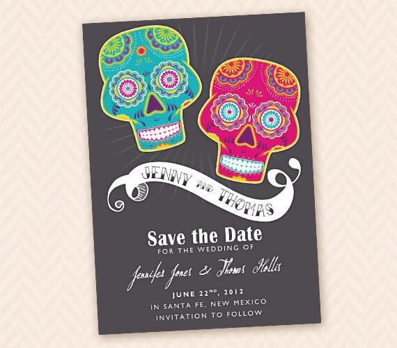 printable save the date mexican sugar skull or dias de los