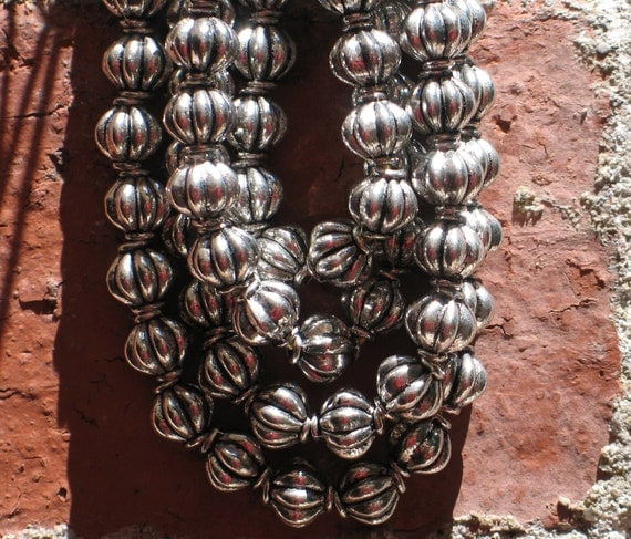 Tibetan silver pumpkin spacer beads, 8mm, perfect for mala making