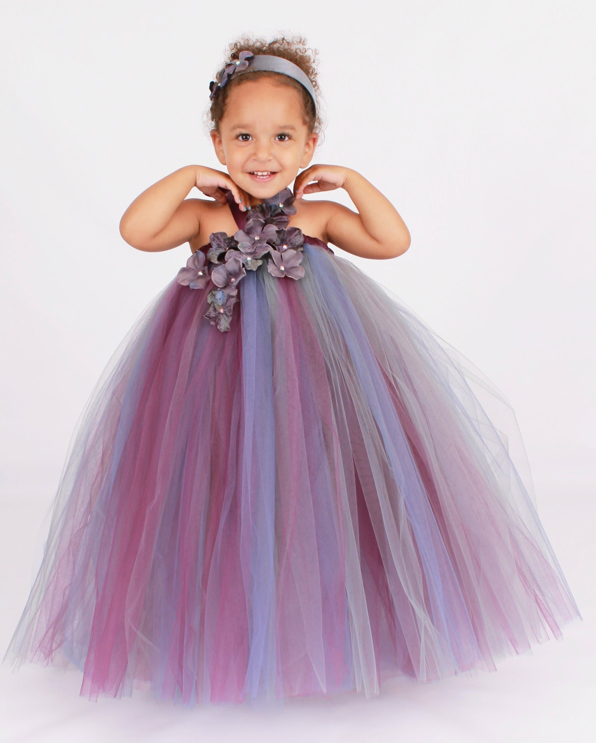 Flower Girl Tutu Dress Purple & Grey by Cutiepatootiedesignz
