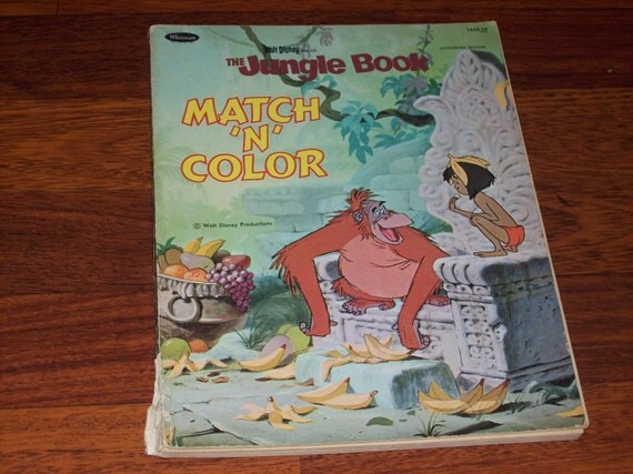 Vintage Whitman/Disney Coloring Book - The Jungle Book Match-N-Color