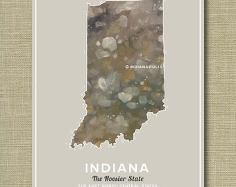Indiana State - Illustrated States of America 11 x 14