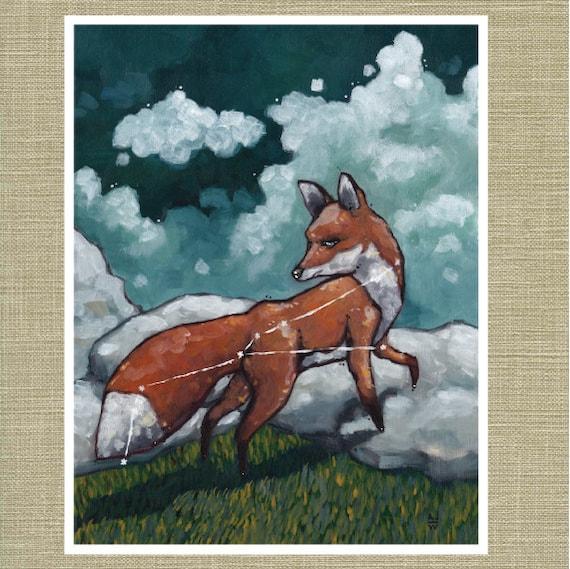"""Vulpecula the Fox - Constellation Fauna Series Fine Art Print 11"""" x 14"""""""
