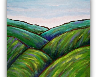 Original Landscape Painting, Vermont, Green Mountains, stretched canvas,8 x 8 home decor