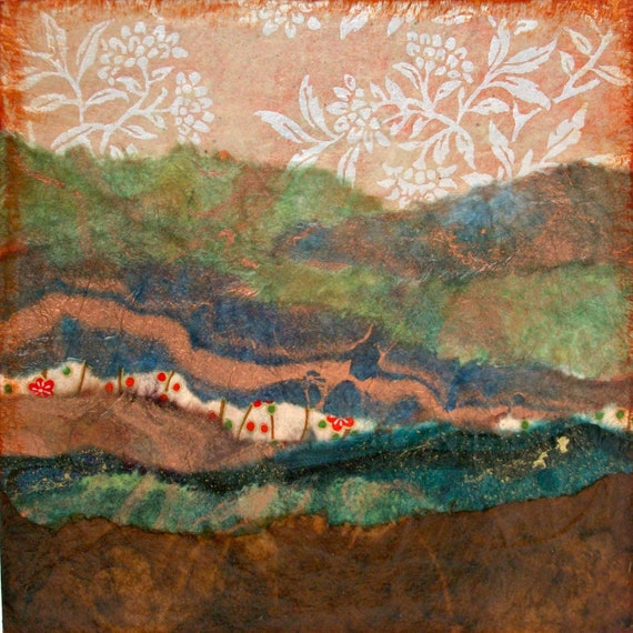 Abstract Paper Collage Abstract Landscape Torn Paper