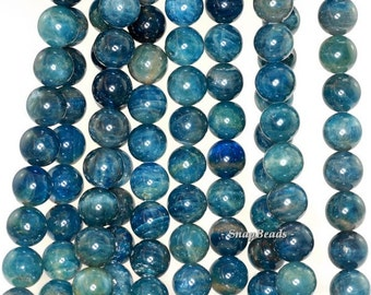 10MM Connoisseur Blue Apatite Gemstone, Blue, Grade A Round 10MM Loose Beads 15.5 inch Full ...