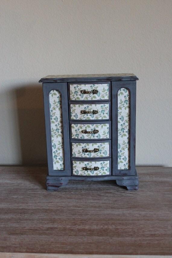 Painted Distressed Metallic Grey Jewelry Box