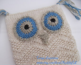 Clearance. Hand Knit Owl Hat, Children Owl Hat,Hoo's There Hat.