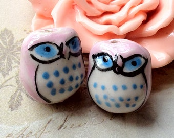 14 x 16 mm Lovely  Blue Eyes Owl Porcelain Beads (.cc)
