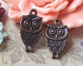 9 x 18 mm Antique Bronze Owl Charm Pendants (.am)