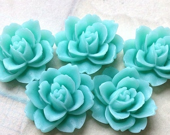 19 mm x 18 mm  Lake Green Colour Resin Peony Flower Cabochons (.ag)