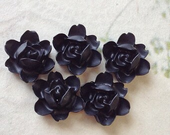 12 mm Black Colour Orchid Resin Flower Cabochons (.sm)