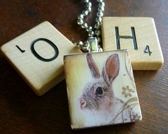 Scrabble Tile Pendants-Wine Glass Charm-Magnet-Key Chain-Rabbits-Bunnies-Animals-(A119)  Buy 3 Get 1 Free on all Scrabble Tiles