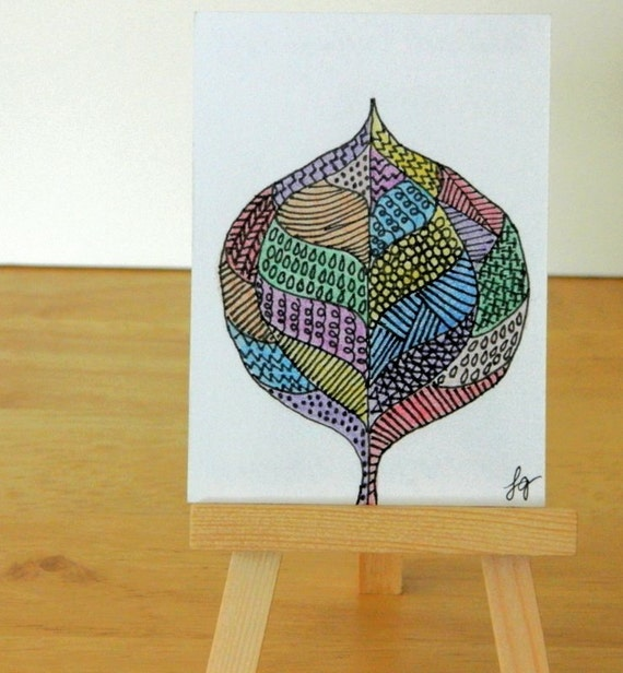 ABSTRACT LEAF DRAWING Colored Pencil and Ink Aceo Original Art
