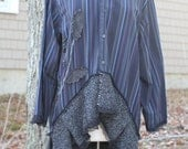 Dark Shadow / Upcycled man' Shirt / Oversized /  One of a kind by Dvoika