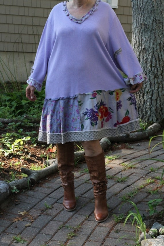 Spring Garden / Upcycled / Dress / Oversized /  One of a kind by Dvoika