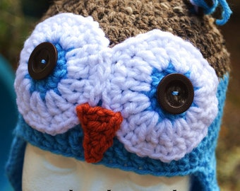 Crochet - OWL HAT with earflaps