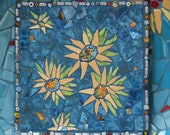 Mosaic Plate - Van Gogh Sunflowers - Teal