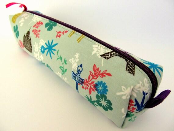 Paris Zippered Pencil case - Zipper Pencil pouch -Zipper Pencil Cases