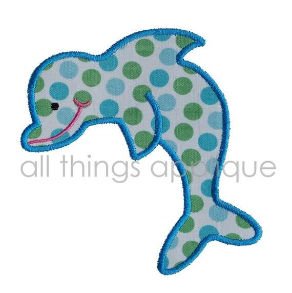 Dolphin Applique Design - 3 Stitch Styles & 3 Sizes - Raggy, Satin, Zig Zag - INSTANT DOWNLOAD