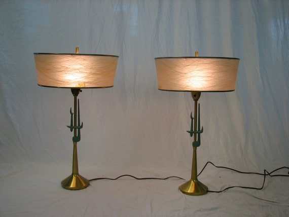 Mid Century Modern, Danish, 1950s-60s ceramic Rembrandt pair of table lamps fiberglass shades