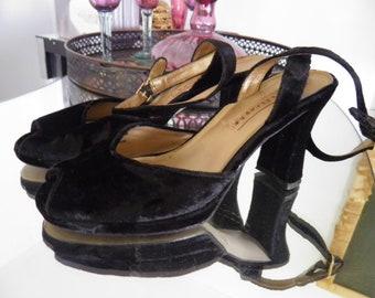 Black Velvet Ankle Peep Toe Heels, Very French by Design