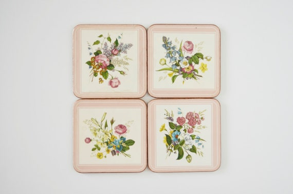 Cork coasters Pimpernel Made in England Floral Bouquet set of 4