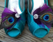 Wedding Shoe Clips, Bridal Shoe Clips,  Purple Plum Shoe Clips, Peacock Shoe Clips, Feather Shoe Clips, Wedding Clips Shoes, Shoe Clips Only