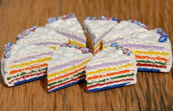 Rainbow Cake Magnet Set Polymer Clay Food Magnet Hostess Gift Cake Lover