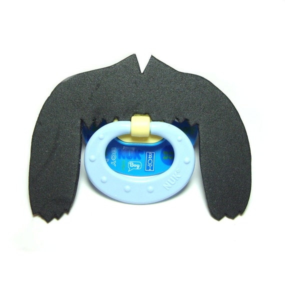 Black Fu Man Chu Mustache pacifier 0 to 6 months