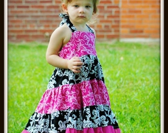 Toddler Dress Pattern, INSTANT DOWNLOAD,  Pdf Sewing Pattern, Girl's Tiered Dress ( pdf pattern ), Halter Dress Pattern