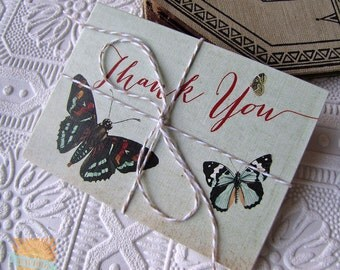 Thank You Notes set of 5 Vintage Botanical Butterfly