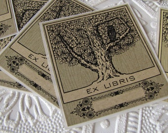 PERSONALIZED Bookplates - Customized Bookplate Stickers - Owl in tree - Ex Libris - Book Labels - Bird Bookplates - Gifts under 20 - vintage