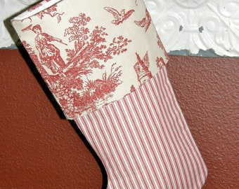 40% off Red Toile Christmas Stocking