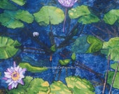 Decorator's Wall Art Original Watercolor Painting called Water Lilies Dark Blue and Green with Pink