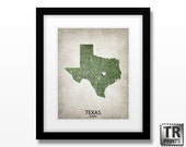 Texas State Map Art Print - Love Map - Original Custom Map Art Print Available in Multiple Size and Color Options