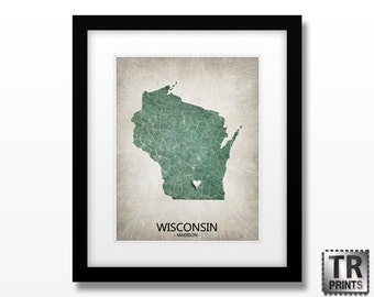 Wisconsin State Map Print  - Home Town Map Art Print - Choose your City & Color - Available in multiple Size and Color Options