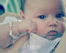 Christening Bracelet, Baby Dedication Communion, Baptism Gift, White Pearls & Cross -- FREE Gift Packaging