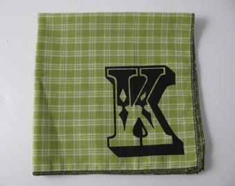 HANKIE -with any INITIAL shown on super soft Lime Green plaid cotton HANKY- or choose from white or any solid colors or plaids shown in pics