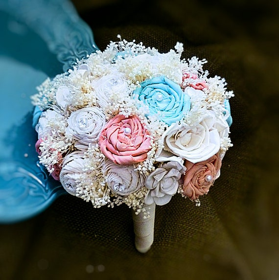 Handmade Wedding Bouquet MADE TO ORDER- Fabric and Sola Flower Bouquet, Bridal Bouquet, Shabby Chic Bouquet, Keepsake Bouquet