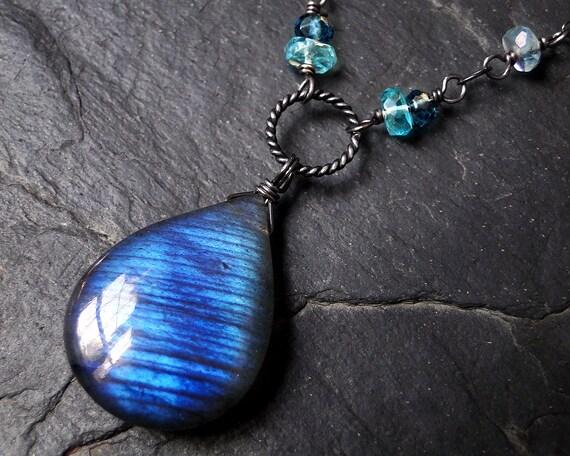 Labradorite Necklace, Blue Labradorite, London Blue Topaz, Oxidized Sterling Silver - Peacock by Inkin on Etsy