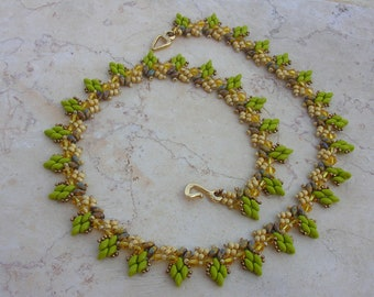 Tutorial - Enchanted leaves necklace - Superduo beading tutorial