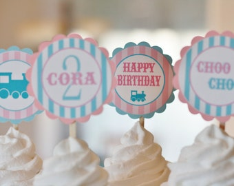 12 Pink Blue Girl Vintage Train Theme Birthday Cupcake or Cake Toppers - Ask About our Party Pack Sale - Free Ship Over 65.00