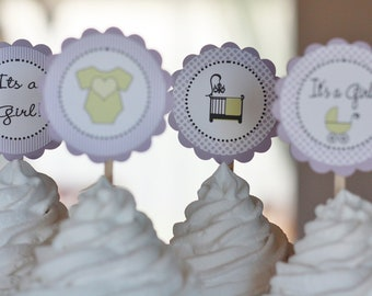 12 Baby Shower Green & Purple Cupcake Toppers - Ask About Party Pack Specials - Free Ship Over 65.00