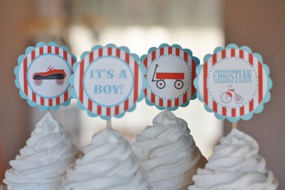 12 - Vintage Toy Wagon Car Airplane Baby Shower Theme Cupcake or Cake Toppers- Ask About our Party Pack Sale