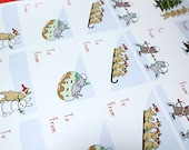 Christmas Gift Tag Stickers - Bunny Rabbit & Mouse Labels (15 Stickers)