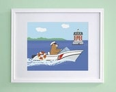 Coast Guard Nursery Art - Bear at Lighthouse - New London Ledge Light (8x10)