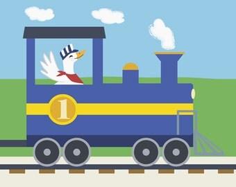 Train Nursery Decor - Duck Railroad Engineer Kids Wall Art