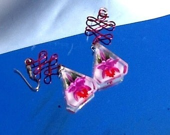 Repurposed Vintage 1960 Earrings Lucite Reversed Carved Flower Iris Orchid Red Purple Tattoo Pin Up